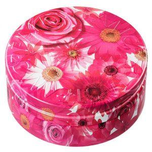 スチームクリームの花柄デザイン缶